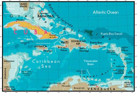 caribbean sea: Cuba Map and Caribbean Sea