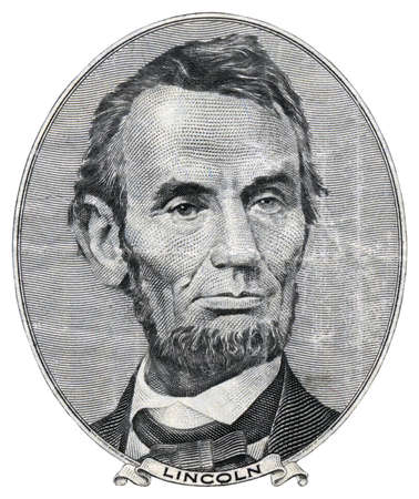 Portrait of Abraham Lincoln on 5 US dollars.
