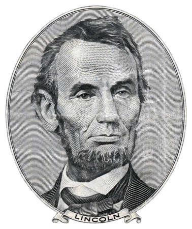 Ritratto di Abraham Lincoln su 5 dollari.