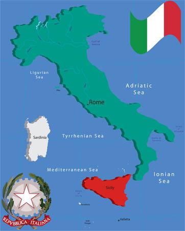 Italia flag and coat of arm. Vector