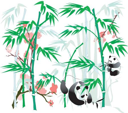 art painting: Panda and Bamboo abstract. Illustration