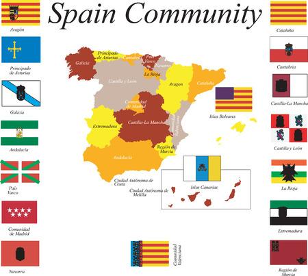 bundesl�nder: Spanien Karte. Illustration