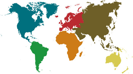 oceania: Continents presented with different colors Separate and use any continent as you wish.