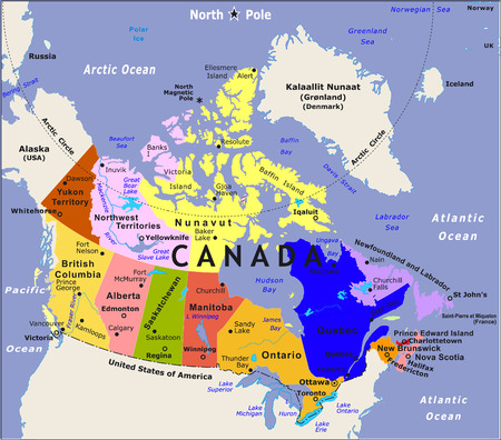 provinces: Canada map VECTOR