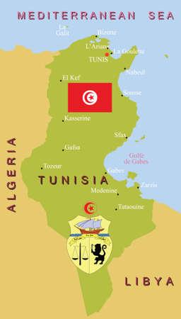 lybia: Tunisia map