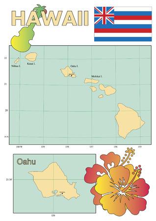 oahu: Hawaii map