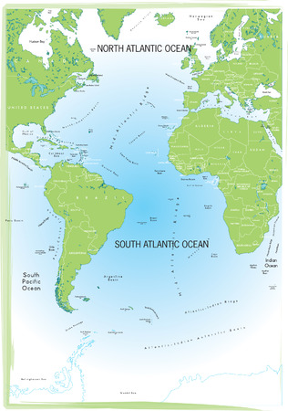 Ocean Atlantic map. Stock Vector - 5340113