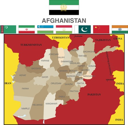 boundaries: Afghanistan map and provinces with  flags and boundaries. Illustration
