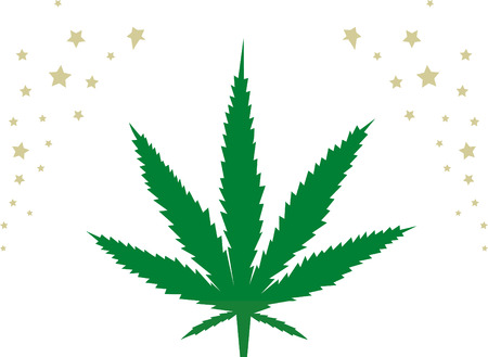 plant pot: Cannabis with stars. Illustration