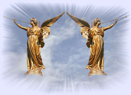concept magical universe: Two angels at the gates of heaven.