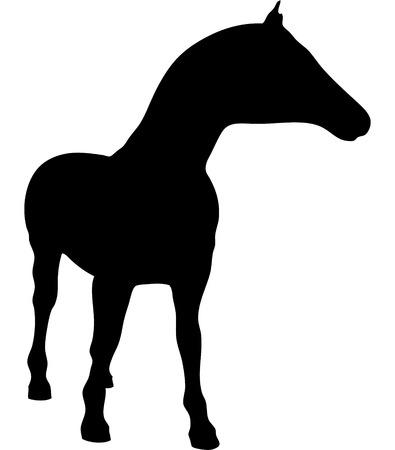 strangeness: One horse isolated on white background.