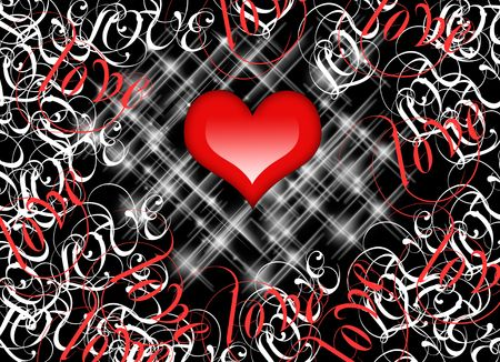 grunge backgrounds: Red Love Heart on black background.