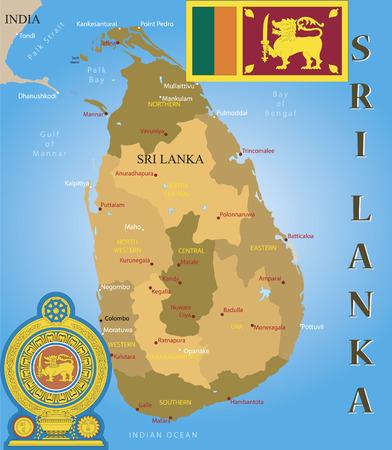 Mappa di Sri Lanka, bandiera e cappotto del braccio.  Vettoriali