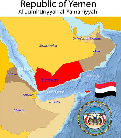 Yemen map. Vector