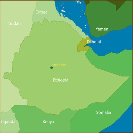 kenya:   Ethiopia Map. Illustration