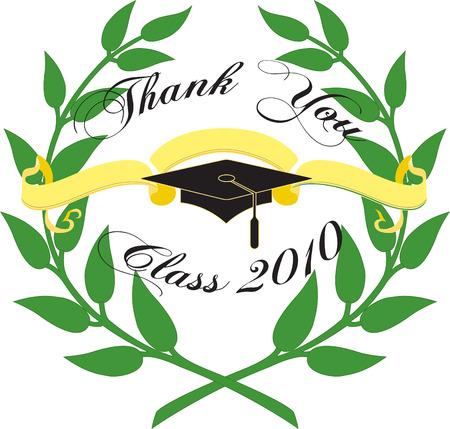 commencement: Graduation card. Illustration