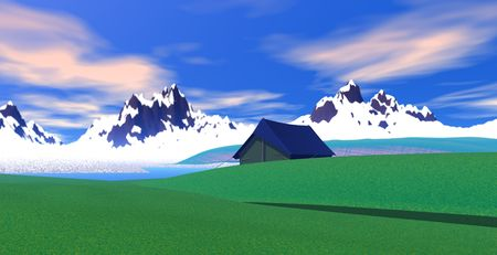 Camping near of mountain landscape. photo