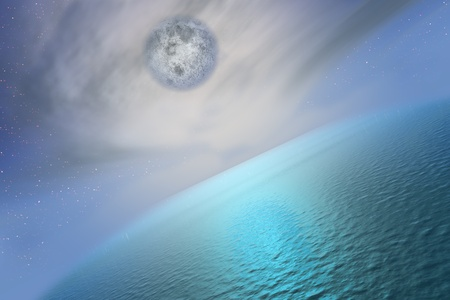 royalty free: The Full Moon upper the sea.
