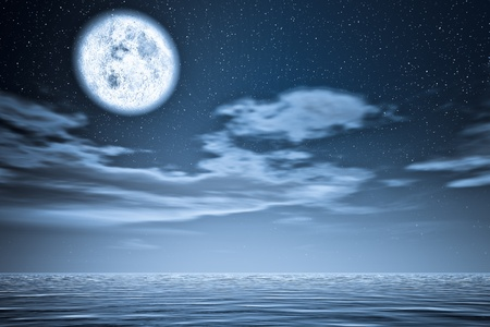 sea scape: Moon upper the sea. Stock Photo