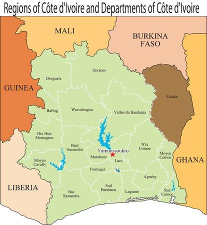 boundaries: An Ivory Coast map and boundaries. Illustration