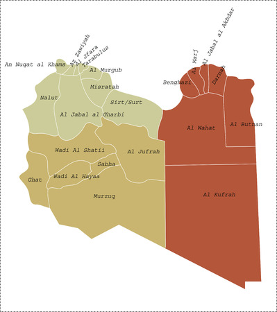 libyan: The current twenty-two districts  in Libya.  Illustration
