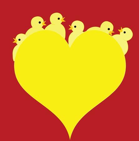 pollitos: Amarillo de pascua sobre fondo rojo. Vectores