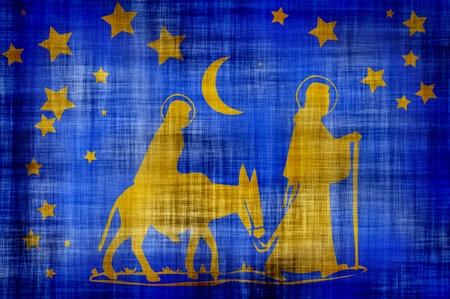 Illustration of Mary on donkey , Joseph and jesus  walking in desert.