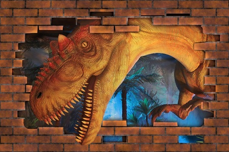 3D A Tyrannosaurus breaks a wall. photo