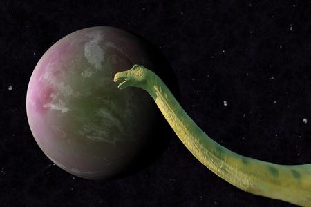 bipedal: A Brachiosaurus in the night. 3D Stock Photo
