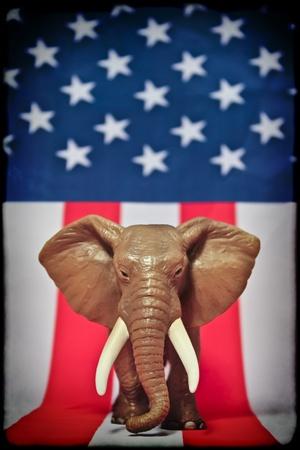 electing: Republican Elephant on white background usa flag. Stock Photo