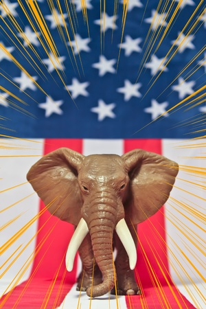 republican elephant: Republican Elephant on white background usa flag with ray sun. Stock Photo