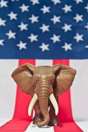 republican elephant: Republican Elephant on white background usa flag. Stock Photo