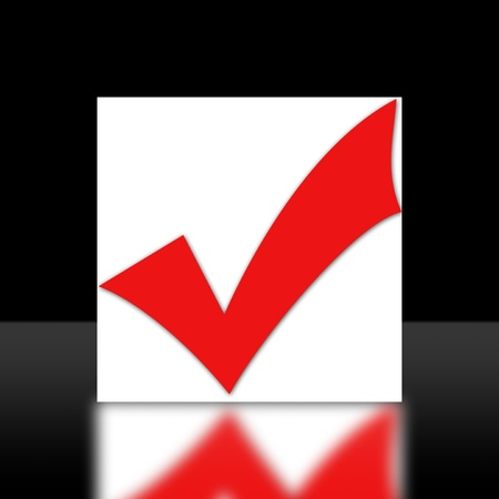 confirmed: Red Checkbox on white background. Stock Photo