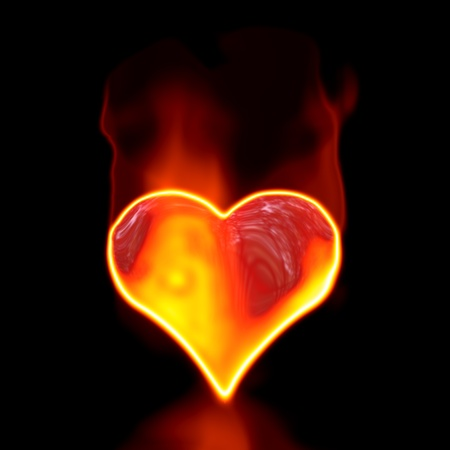 Love symbol in fire on black background. photo