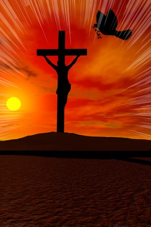 Christ Cross against sky sunrise with Peace Dove photo