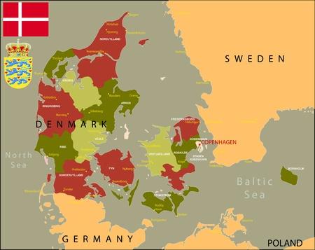 denmark flag: Denmark map with major cities, flag and coat of arm.