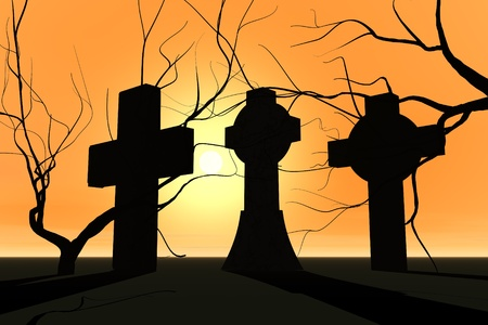 Graveyard in sunset and tree silhouette  photo