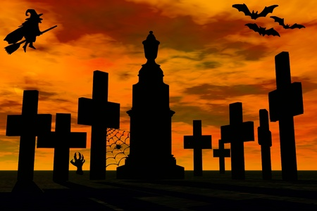 miserable:  Graveyard in sunset and witch silhouette  Stock Photo
