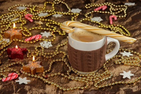 capuccino: Hot beverage and decoration  during Christmas