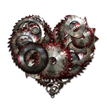 carnage: Heart made with metal and blood to represent violent love. Stock Photo