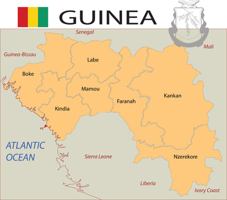 oceania: Guinea map with counties and flag