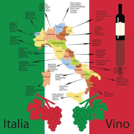 wine country: Editable italian wine map