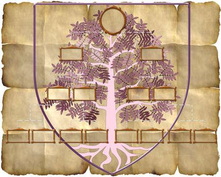 Family genealogy tree on old paper background  photo