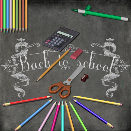 Back to school with accessories for schoolchildren  photo
