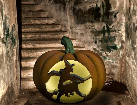 cucurbit: Halloween marbled Pumpkin on grunge background.