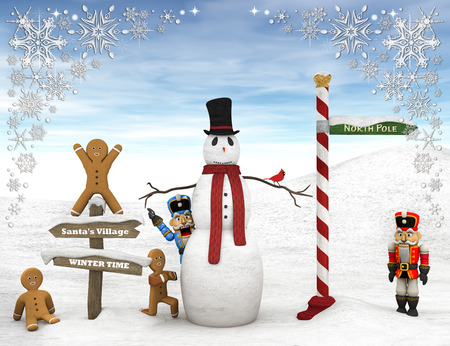 north pole: Winter scene with figurines and snowman. Stock Photo