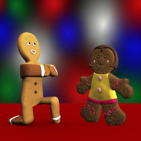 proposes: Gingerbread proposes marriage to his girlfriend