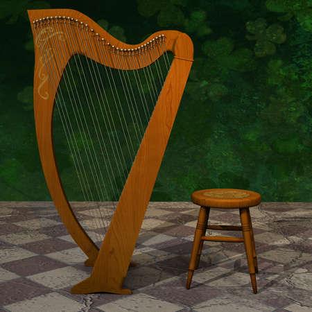 Celtic Harp for St Patrick Day. photo