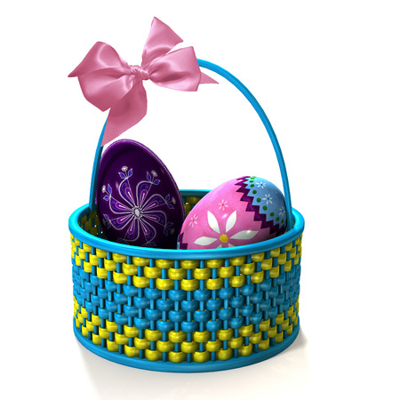 gift basket: Easter basket with pink ribbon.