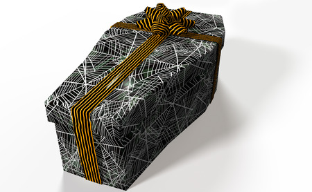 closed ribbon: Gift shaped coffin. Stock Photo